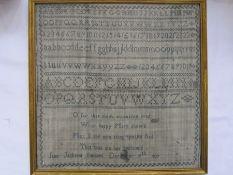 19th century samplerwith alphabet and verseby 'Jane Jackson, December 19th 1829', 33cm square