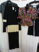 Gina Bacconi silk brocade jacketwith puff sleeves, a Yohji Yamamoto black and white knitted full