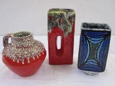 ES Keramik Emons & Sohne fat lava jug, red and white glaze, circa 1970's, 15.5cm high, Strehla