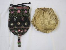 Victorian beaded reticule with drawstring and a brocade vintage evening bag with fixed frame (some