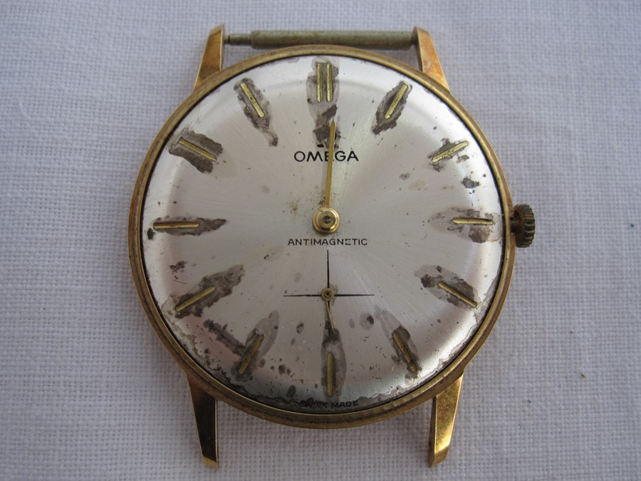 Mid 20th century gent's Omega gilt metal wristwatch with subsidiary seconds dial (face missing and
