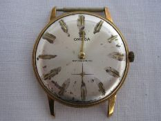 Mid 20th century gent's Omega gilt metal wristwatchwith subsidiary seconds dial (face missing and