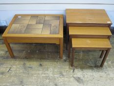 20th century nest of three tablesand rectangular tile-top occasional table(2)