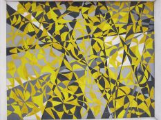 Oil on board Abstract, patterns in yellow, black, grey and white, 60cm x 74.5cm