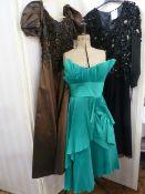 Frank Usher vintage evening dressin blue (has been altered), a Frank Usher 1930's-style black dress