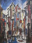 Yassa Nissan - 20th Century School Oil on canvas Abstract Venetian canal scene, signed lower middle,