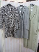 Joseph black and white wool check coatwith net fringing to the lapels and edge and cuffs, a DKNY