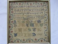 19th century sampler with alphabet and floral border, dated 1862, 23cm x 22cm approx
