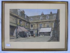 E W Moy  (20th century school) Watercolour Cheltenham Montpellier street scene with caryatids ,