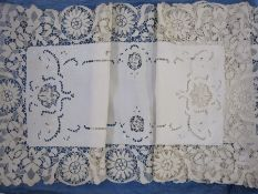Cotton table runner with bobbin lace fringe with matching place mats and a square net cloth bordered