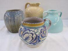 Poole pottery jug(damaged), Barnstaple two-handled vase, studio pottery vasemarked to base '