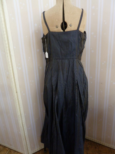 1950's brocade evening dress, full skirted, strapless bandeau top, button detail to the back, a - Image 4 of 8