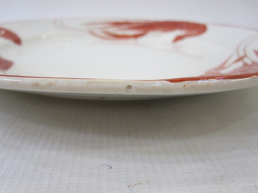 Set of 12 French lobster decorated plates, marked to base 'Rorstrand', in red, decorated with - Image 7 of 7