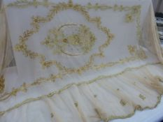 Pair of late 19th century single bed, net bed covers. Possibly French ,heavily embroidered in gold