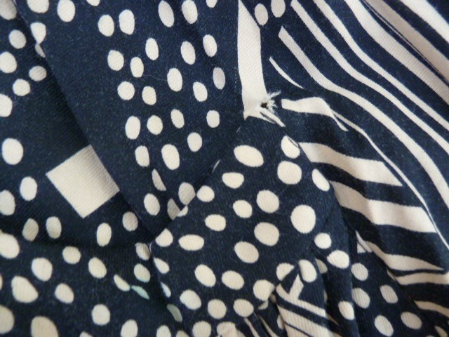 Vintage black and cream Biba smock topwith angel sleeves, three square buttons, labelled, deep - Image 5 of 7