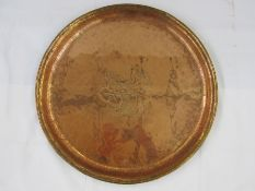 Arts & Crafts Hugh Wallace oval copper traywith brass handles, engraved floral motif to centre,