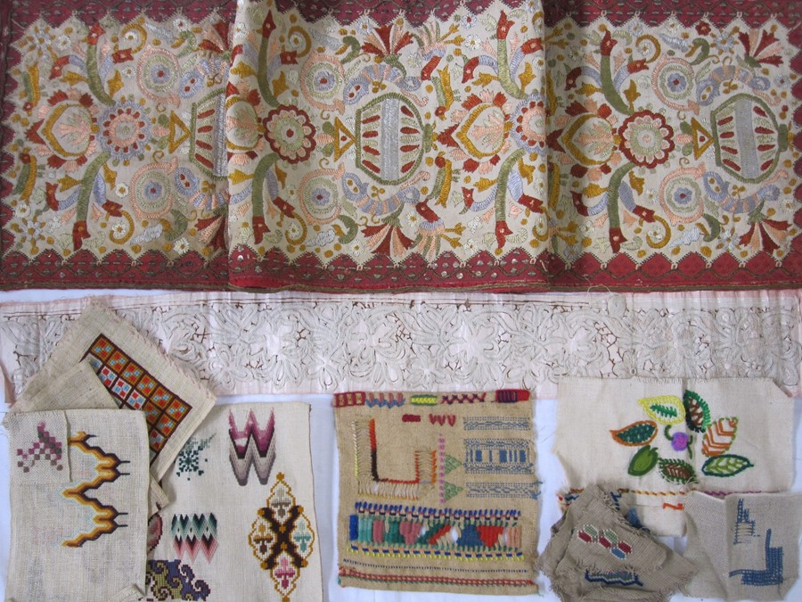 Eastern-style embroidery on canvas, table runnerand a large quantity of embroidery samples, - Image 2 of 2