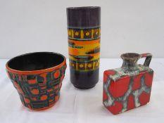 Uberlacker Keramik planterin orange and green Brutalist Space Age raised design, shape no.161-15,