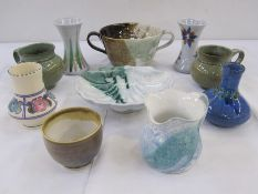 Quantity of studio potteryto include John Bordeaux, The Isles of Scilly, pottery vase, Earthworks