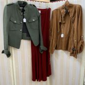 Isabel de Pedro maxi red wool skirt, green tweed jacket, breast pockets, silver button detail (