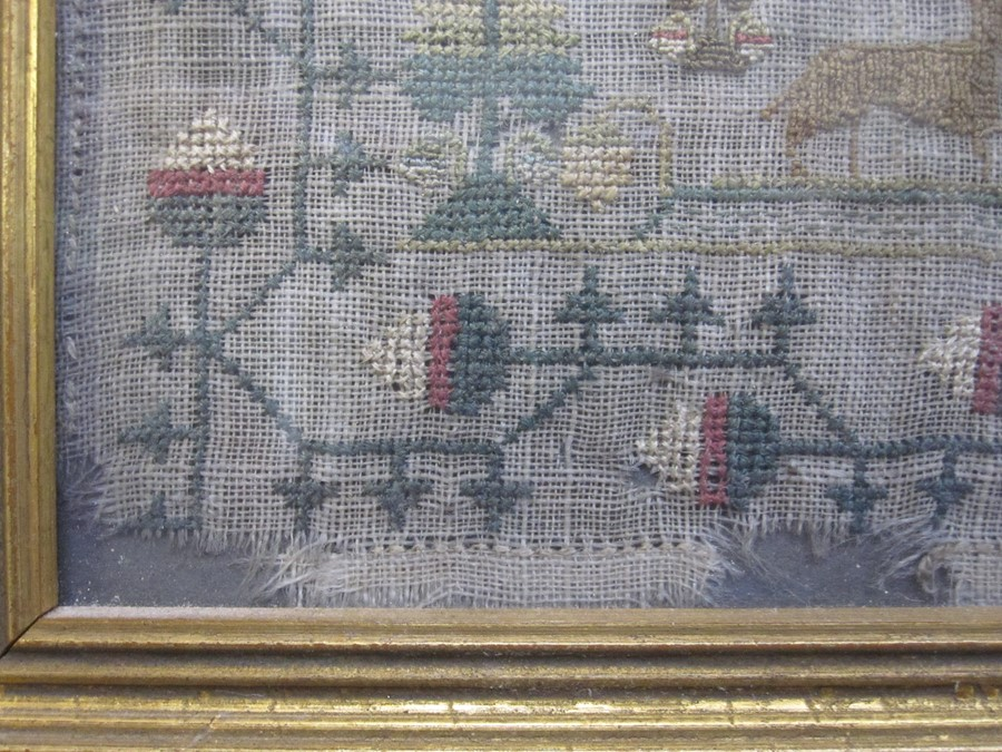 Early 19th century sampler with alphabet, verse, animals and floral border by 'Eliza Daydon, 08', - Image 5 of 8