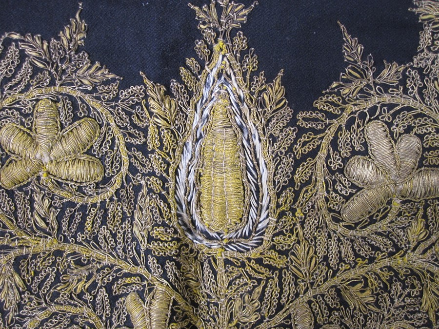 Satin embroidered cloth with gold thread fringe, 76cm x 76cm square (some wear and staining), a - Image 3 of 3