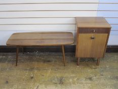Mid 20th century rounded rectangular topped occasional table, 91.5cm x 38cm and mid 20th century