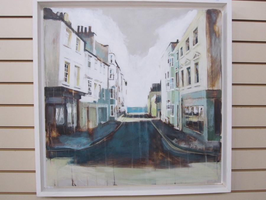 Camilla Dowse Oil on board Bedford street scene, label to reverse, 25 x 26cm