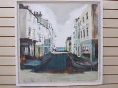 Camilla Dowse Oil on board Bedford street scene, label to reverse, 25 x 26cm