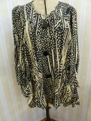 Vintage black and cream Biba smock top with angel sleeves, three square buttons, labelled, deep