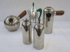 Freud Cafetiere, teapot, cream and sugar ,and a Carlo Giannini Italian Espresso maker(5)