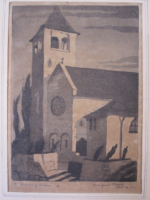 """Margaret Jolliffe Black and white print """"St Frances of Assisi"""" and other prints and pictures(all"""