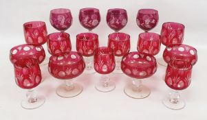 Assorted cranberry glassware to include hocks, wines, champagne bowls, etc