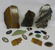 Assorted cut and polished rocks to include haematite and various further