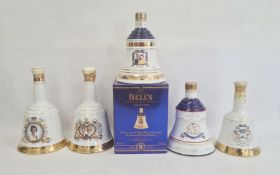 Five ceramic Bells bottles with liquid contents inside to include Charles and Lady Diana 1981
