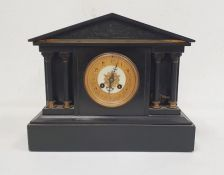 Black slate mantel clockof architectural Greek form, Arabic numerals to the dial, on plinth base,