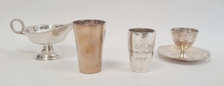 A Swedish silver shot glass, inscribed 'S.C.S Martin Carlsson 19 12/2 11', three crown mark to