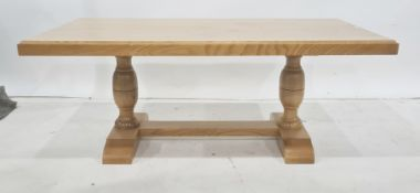 Modern, possibly ash, rectangular coffee tableon turned pedestal and stretchered base, 111cm x 45cm