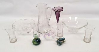 Assorted glasswareto include lemonade set, small glass paperweight, vases, jug and bowls