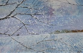 Chris Bourne (20th century school)  Oil on board Snowy landscape scene, unsigned, initialled CB