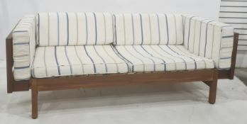 Mid century, possibly Danish, designer day bed, the woven end arms extending, on draw mechanism,