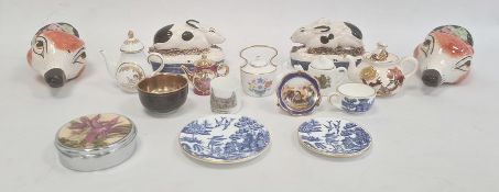Coalport porcelain blue and white miniature trio, small quantity porcelain miniatures, pair