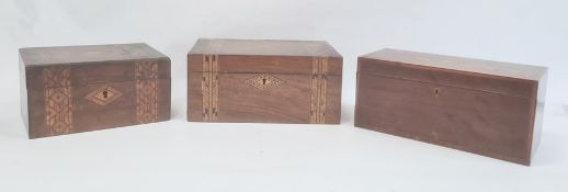 19th century mahogany and shell inlaid rectangular tea caddyand two parquetry inlaid work boxes(3)