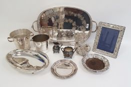 Silver plated tray of oval form with two handles and pierced gallery, silver plated photograph frame