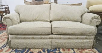 Two-seater sofa and single swivel chairin pale gold upholstery (2)
