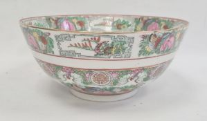 Modern Chinese punchbowl painted in famille rose colours, 24cm diameter