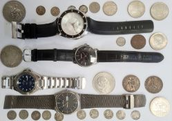 Gent's Calvin Klein wristwatch with calendar aperture, gent's Skagen wristwatch, two other gent's
