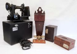 19th century candle box, set of postal scales, sewing machine, etc
