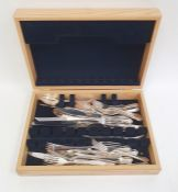 Modern canteen of silver plated cutlery in the Dubarry pattern, in wooden case