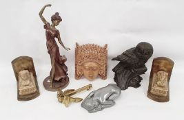 Box of assorted itemsto include book ends in the form of sphinx, pine decoy duck, miniature brass